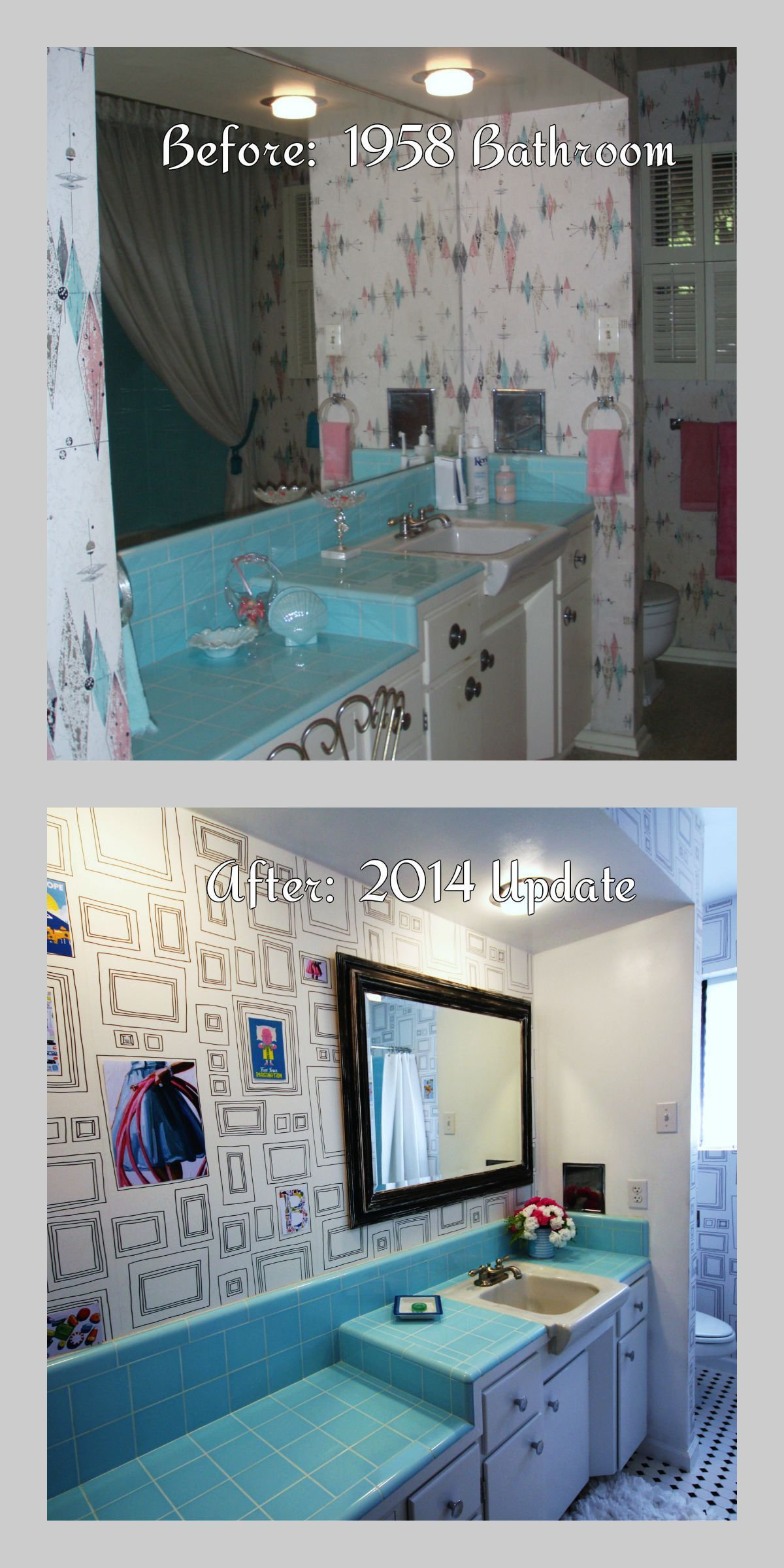 save the blue tile midcentury bathroom that i loved but the atomic wallpaper was falling apart updated the bathroom but kept the aqua tiles