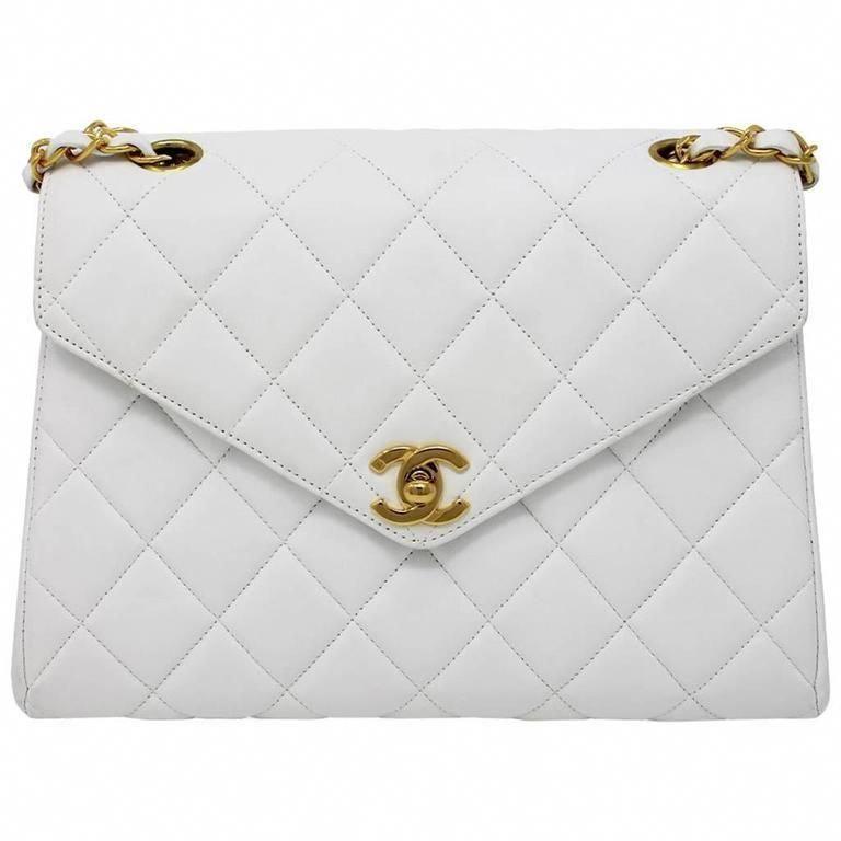 b0cf920e3732 Chanel Vintage White Lambskin Mini Flap GHW Handbag No. 4 1990 # Chanelhandbags