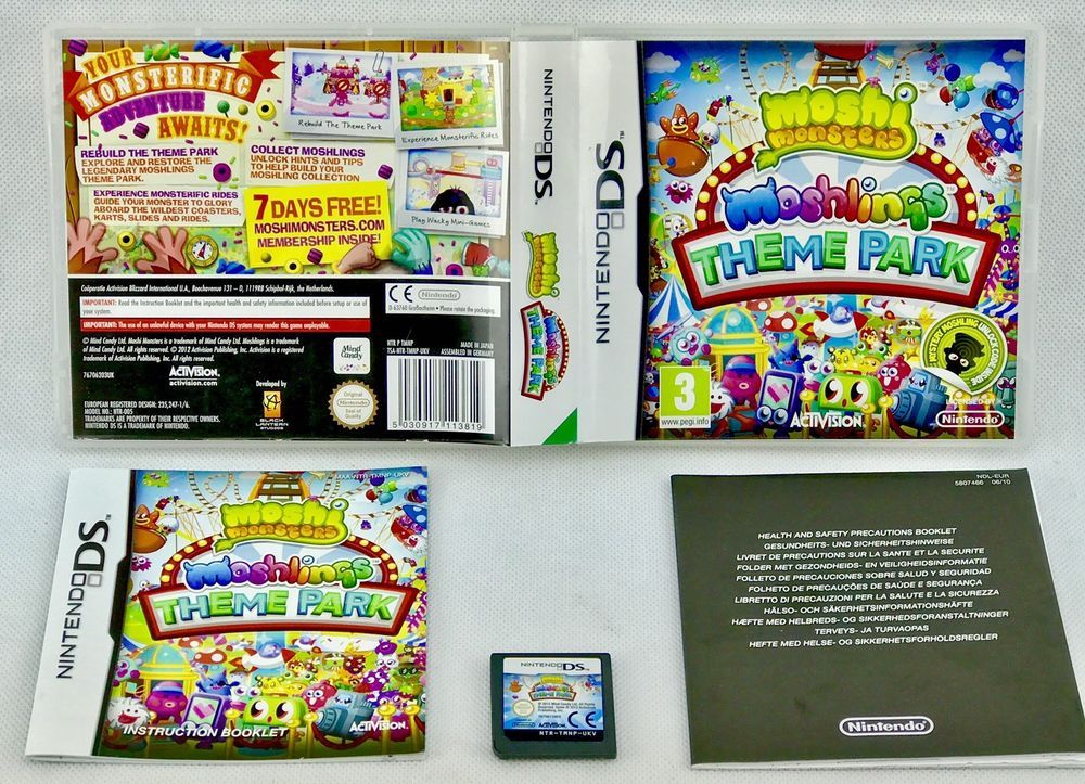 Moshi Monsters Theme park Nintendo Ds video Game & manual