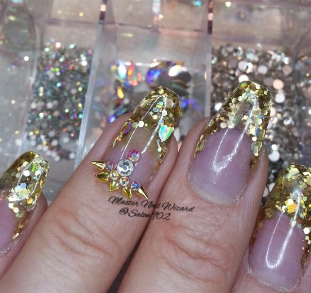 Day 259 Gold Spike Nail Art