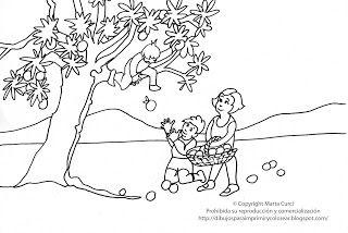 Dibujos Para Imprimir Y Colorear Gratis Para Ninos Dibujo De Ninos Cosechando Manzanas Con Su Madre Dibujos Para Ninos Dibujos Para Imprimir Dibujos