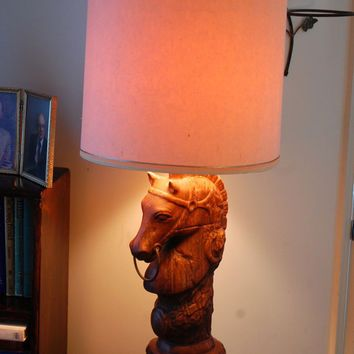 Pair of 1969 holland mold horse lamp | Mid Century / Holland Molds Horse / Table Lamp with Shade / Hand ...