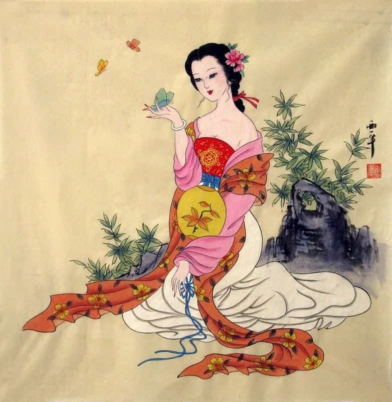 traditional chinese painting of beautiful women