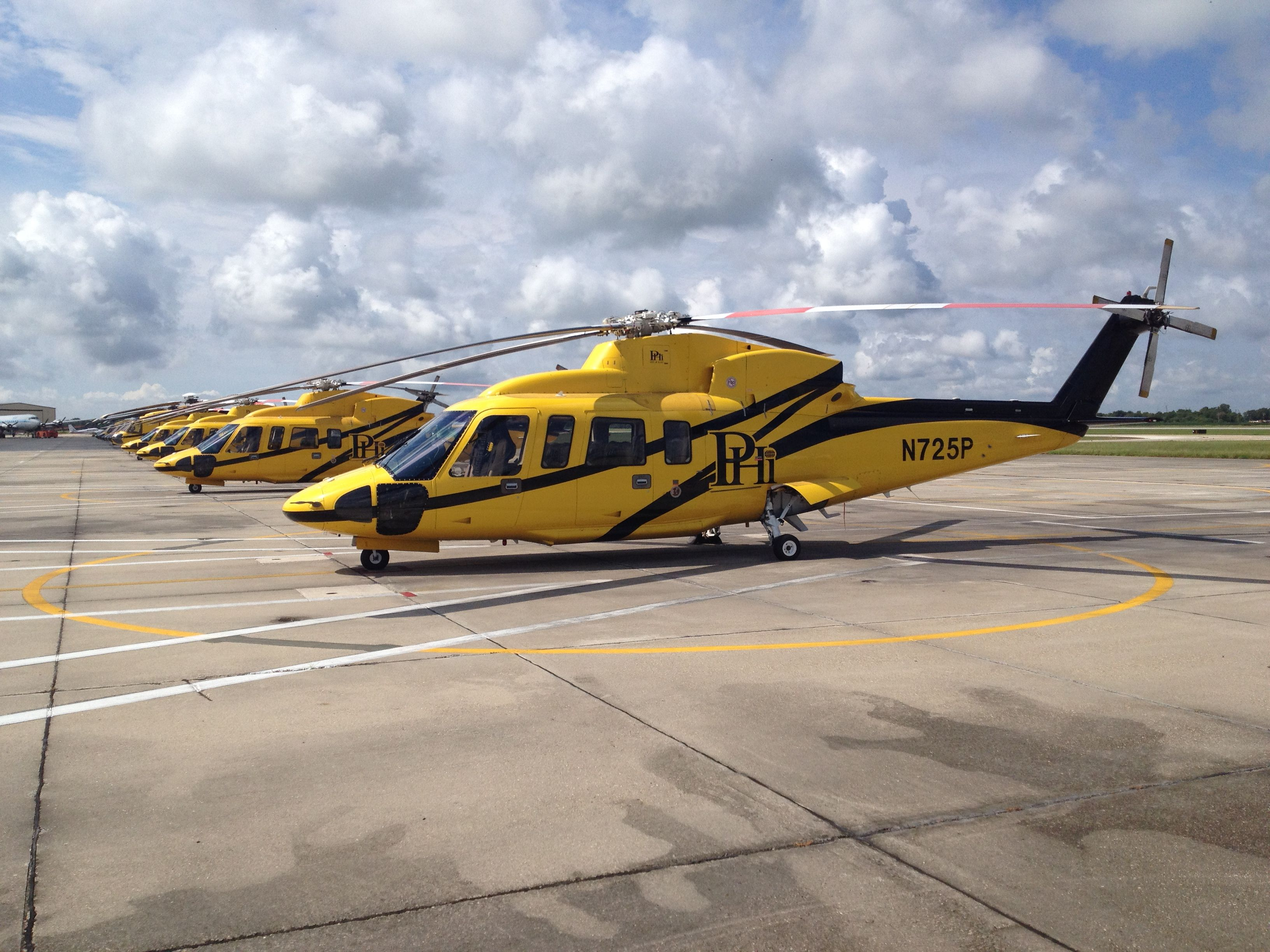 PHI Inc Houma BP Ramp. S76 and S92 helicopters