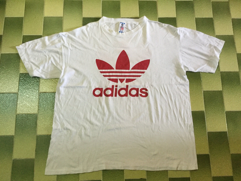 Vintage Adidas Big Logo Trefoil T Shirt Double Sided Print The Etsy Vintage Adidas Vintage Rap Tees Tee Shirts
