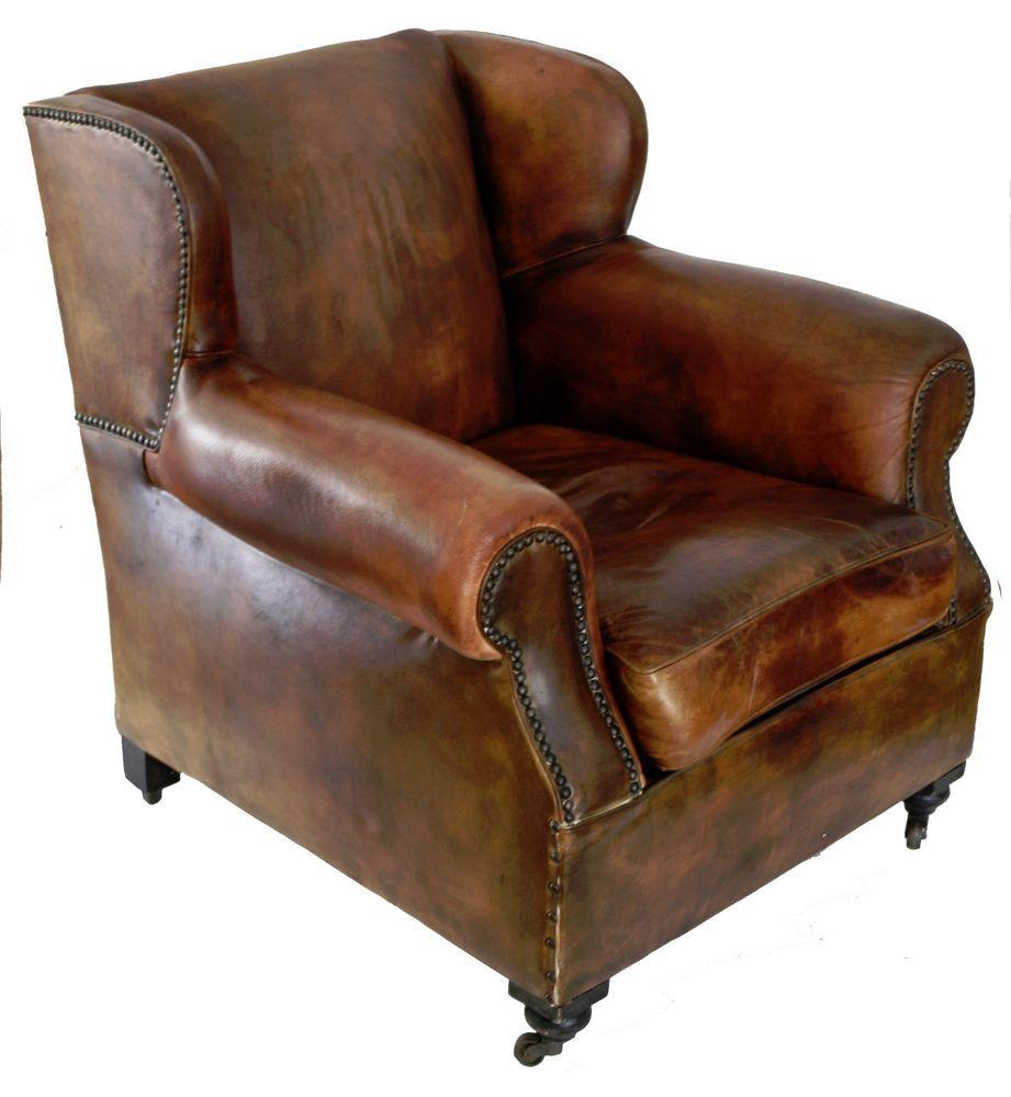 Awesome French Art Deco Leather Club Chair Wing Back Great French Frankydiablos Diy Chair Ideas Frankydiabloscom