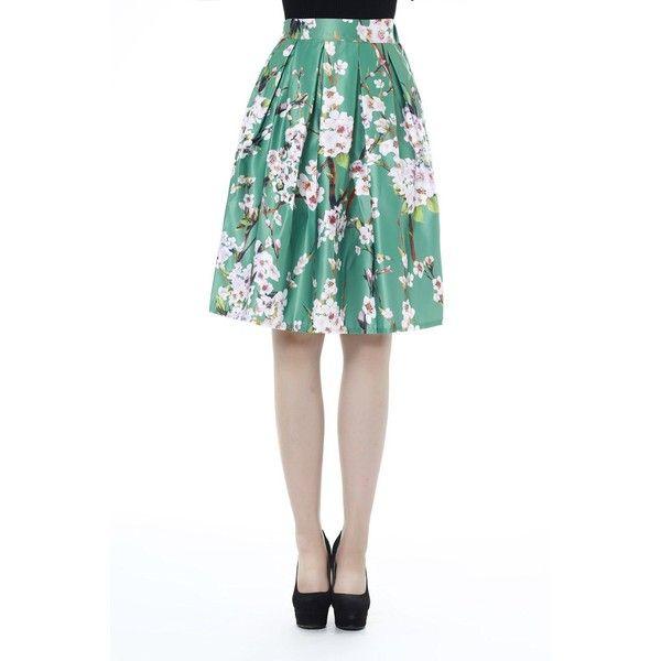 V28 Women's Sakura Pleat Floral Skater Blossom Print Midi Skirt ($17) ❤ liked on Polyvore featuring skirts, midi skater skirt, white floral skirt, white midi skirt, mid-calf skirt and knee length skater skirt