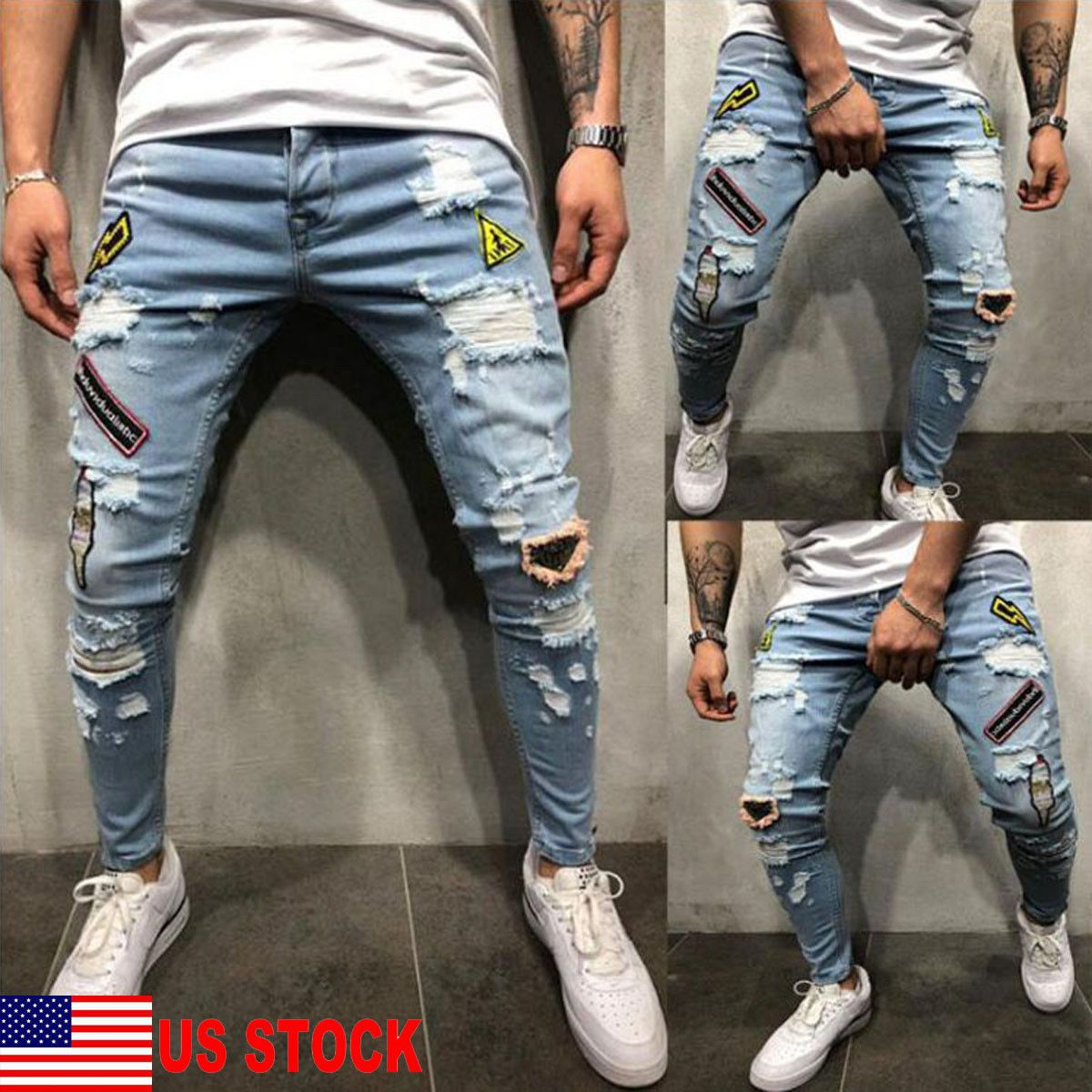 ddc84f94 Mens Stretch Pants, Slim Fit Pants, Skinny Biker Jeans, Ripped Jeans, Men's