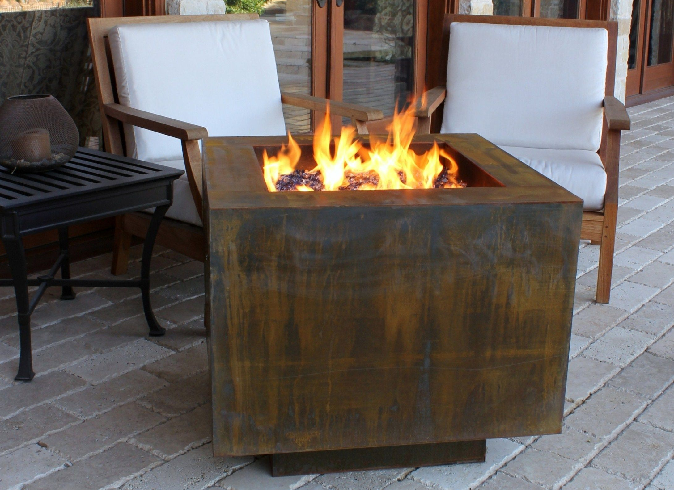 Cor Ten 30 Square Fire Pit With Hidden Propane Tank Configuration