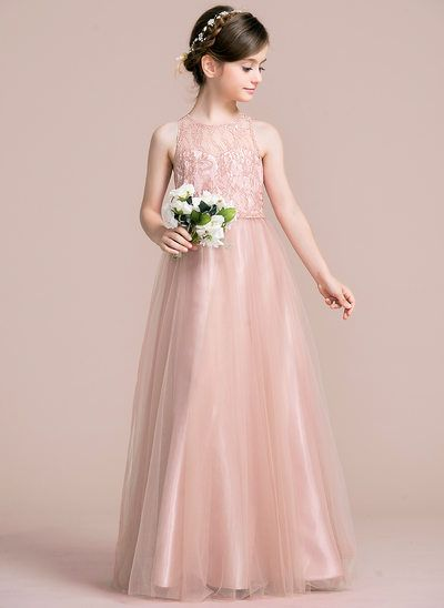 A Line/Princess Scoop Neck Floor Length Tulle Junior Bridesmaid Dress