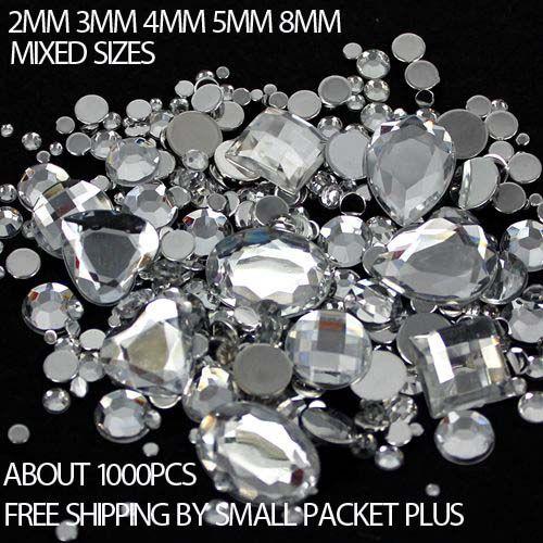 Mixed Sizes 1000pcs Many Colors Round Acrylic Loose Flatback Rhinestone Nail Art Crystal Stones For Wedding C Nail Art Rhinestones Stones And Crystals Crystals