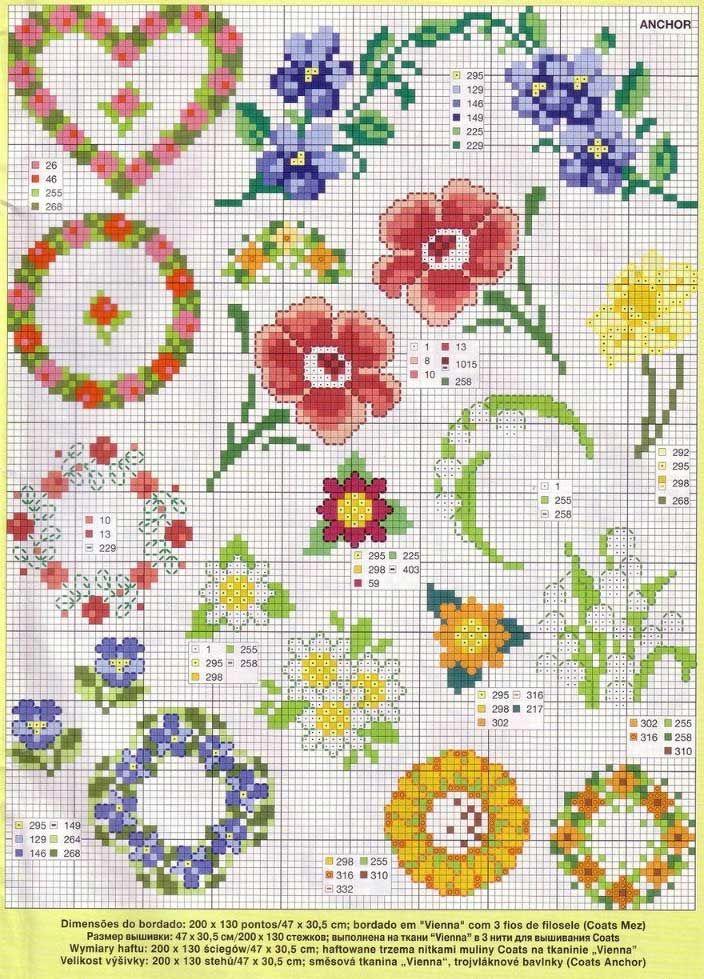 Схема вышивки крестиком цветы маленькие