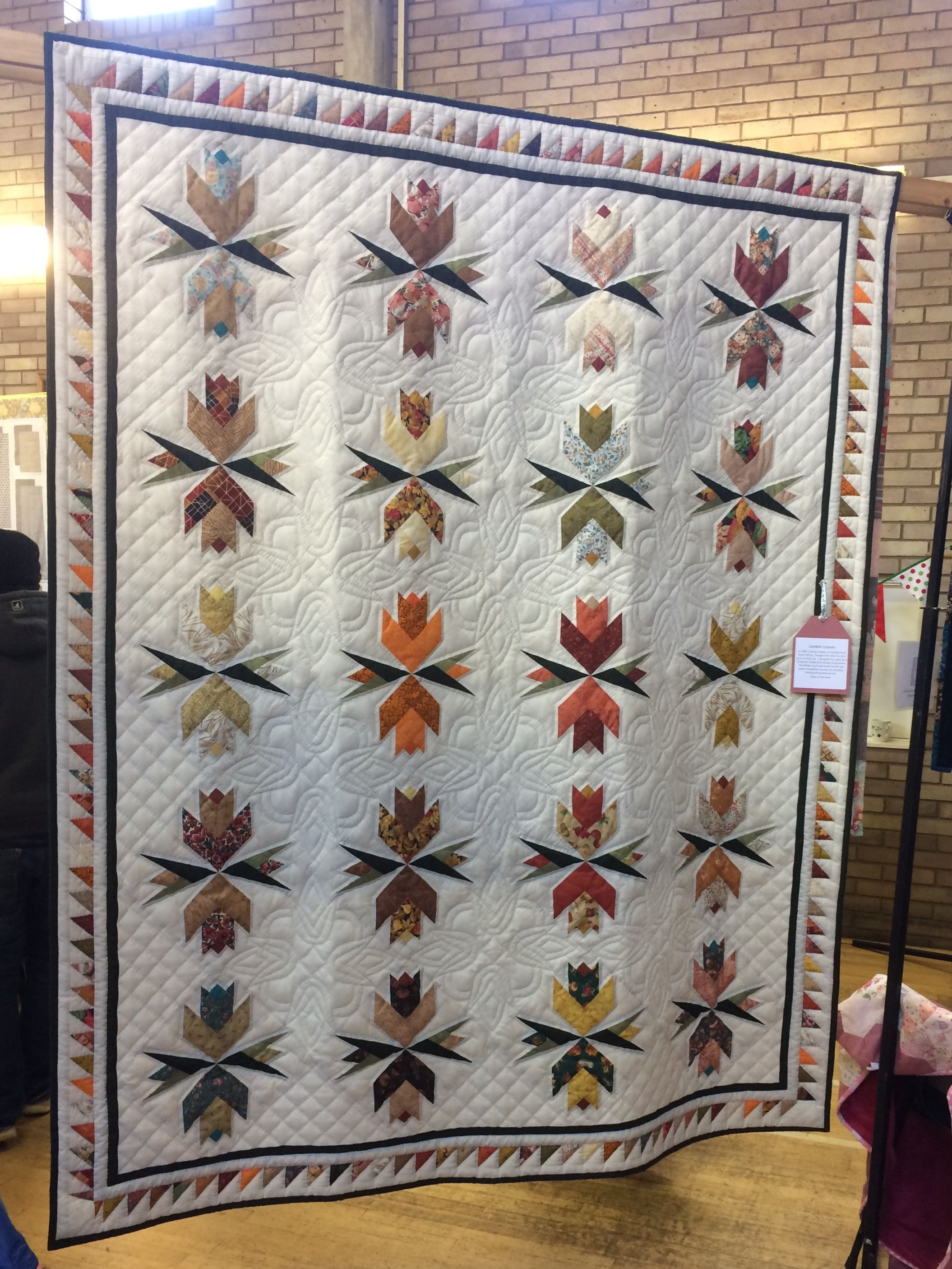 London Leaves - paper foundation pieced quilt