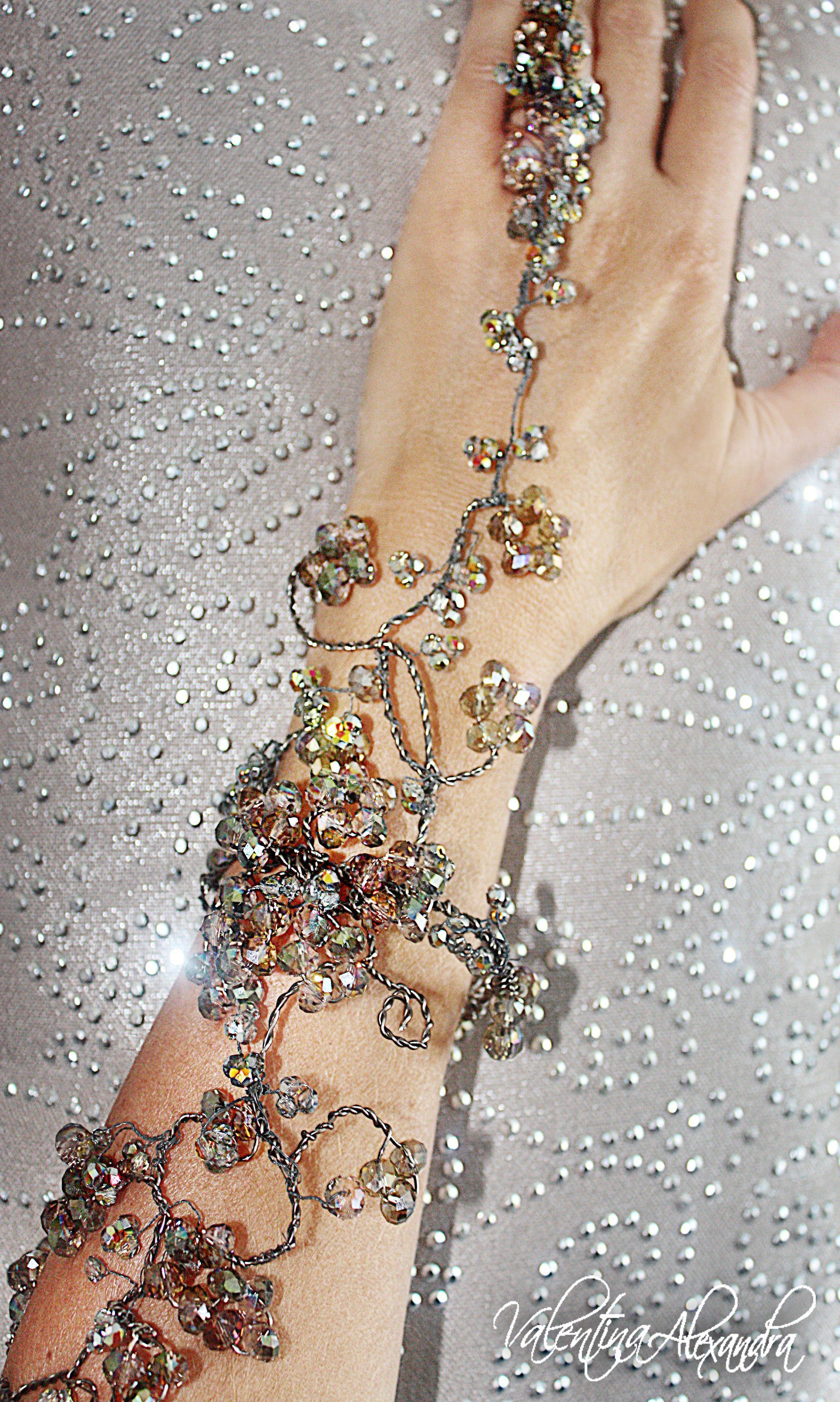 Armlet Slave Bracelet - Upper Arm Bracelet - Faerie Upper Arm Cuff -Crystal  Full Arm 994604c85edf