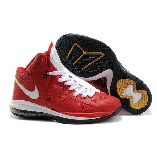 Air Max Lebron 8 VIII PS. Men Mes Red-White-Black-Gold