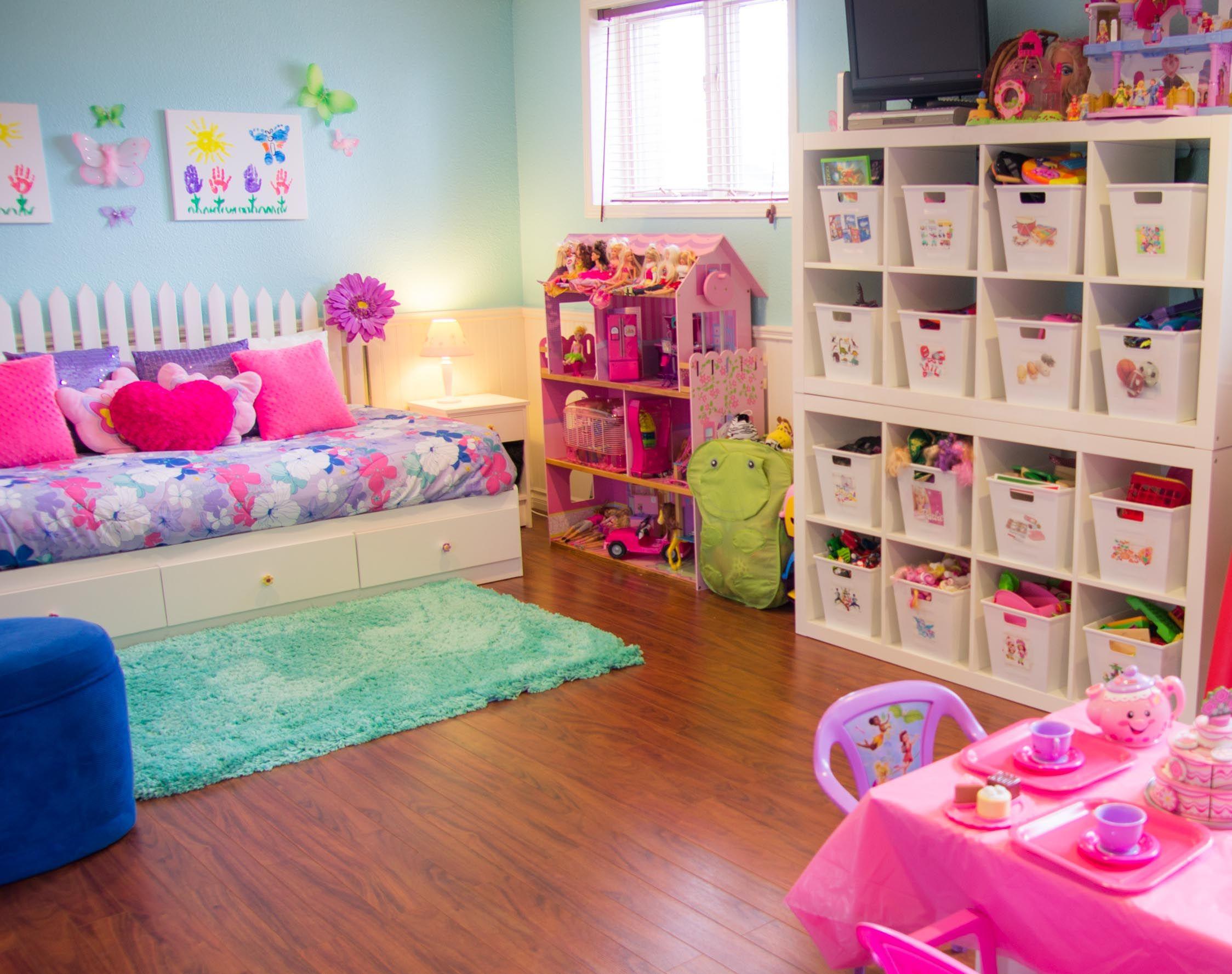 An Organized Playroom Girls Room Organization Kids Room