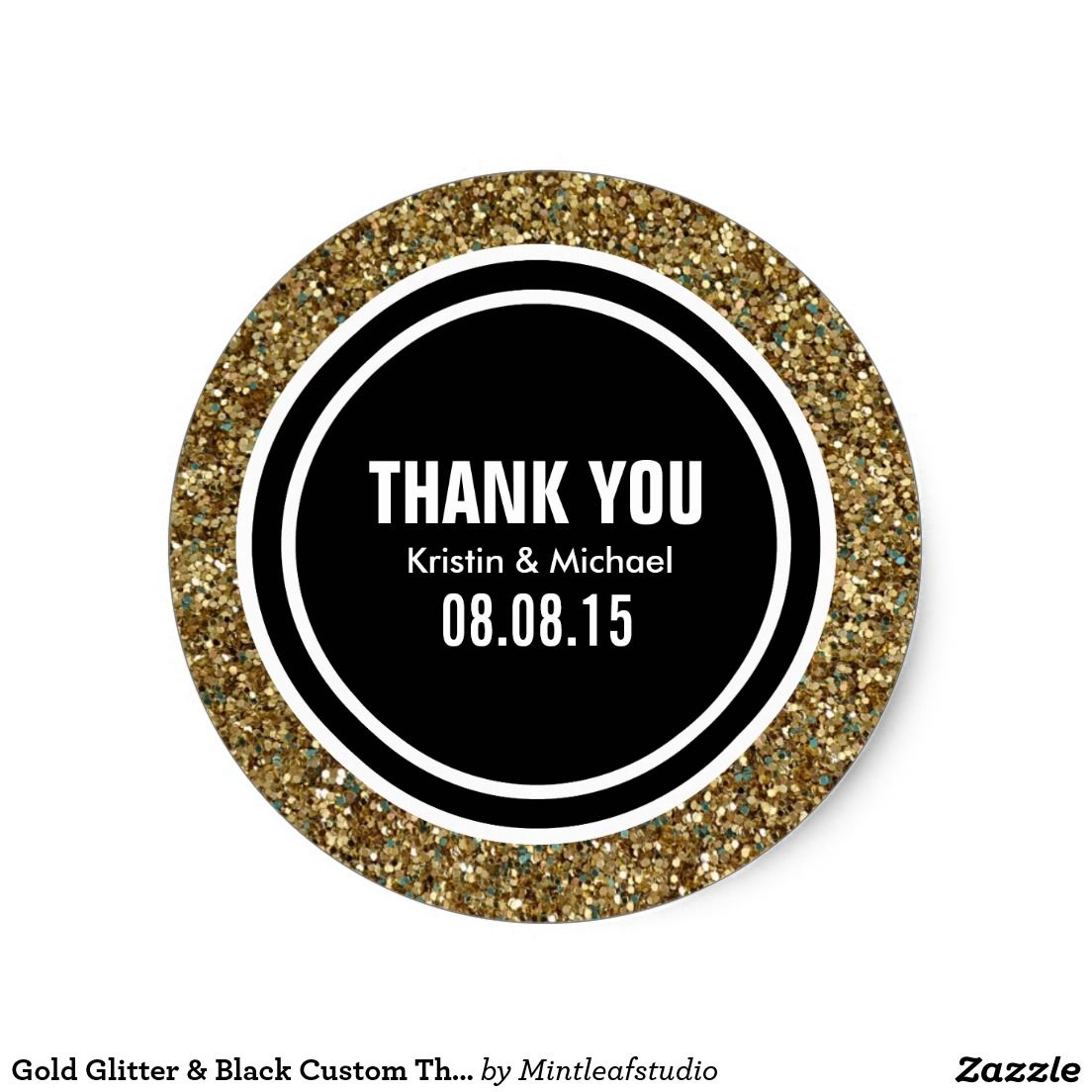 Gold Glitter Black Custom Thank You Label Classic Round Sticker - Custom glitter stickers