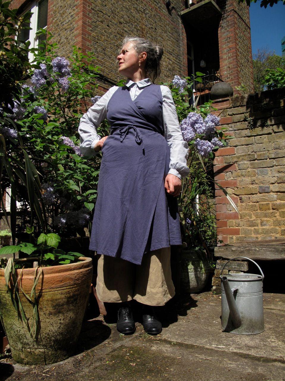Margaret's Bias cut linen/polyester wrap dress  available Via www.scobelclothing.co.uk or at  Bias Bellenden Rd SE15  o