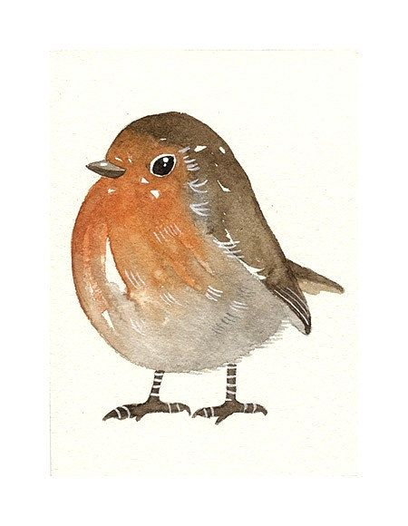 8bf058a6292d7 Original Watercolor - Robin - ACEO Art Bird - Painted by Lorisworld ...