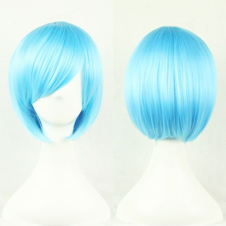Women Short Straight Synthetic Hair Bob Cosplay Wigs Cosplay Party Anime Wig Usa Sky Blue Hair Anime Wigs Bob Wigs