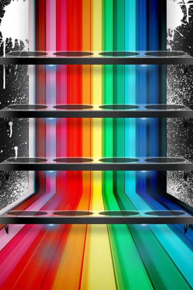 Rainbow Color Home Screen Iphone Wallpaper Rainbow Shelf Wallpaper Cool best wallpaper for iphone home