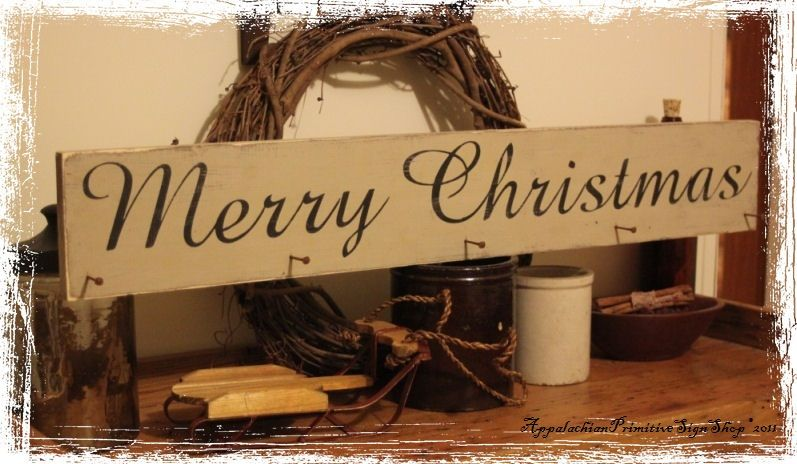 Christmas Sign Decorations Primitive Decor  Rry Christmas Stocking Hanger With