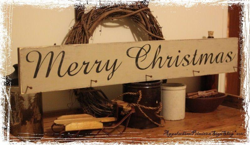 primitive decor Merry Christmas Stocking Hanger with Primitive - primitive christmas decorations