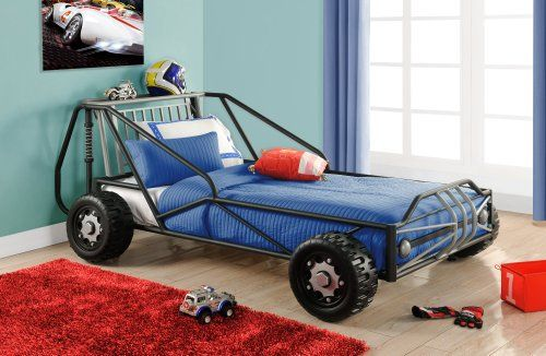 Dhp Race Car Bed Frame For Kids Bedroom Twin Silver Black