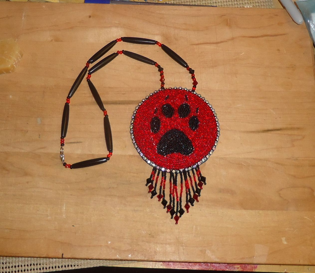 a wolf paw beaded medallion that I made. | beadwork ...