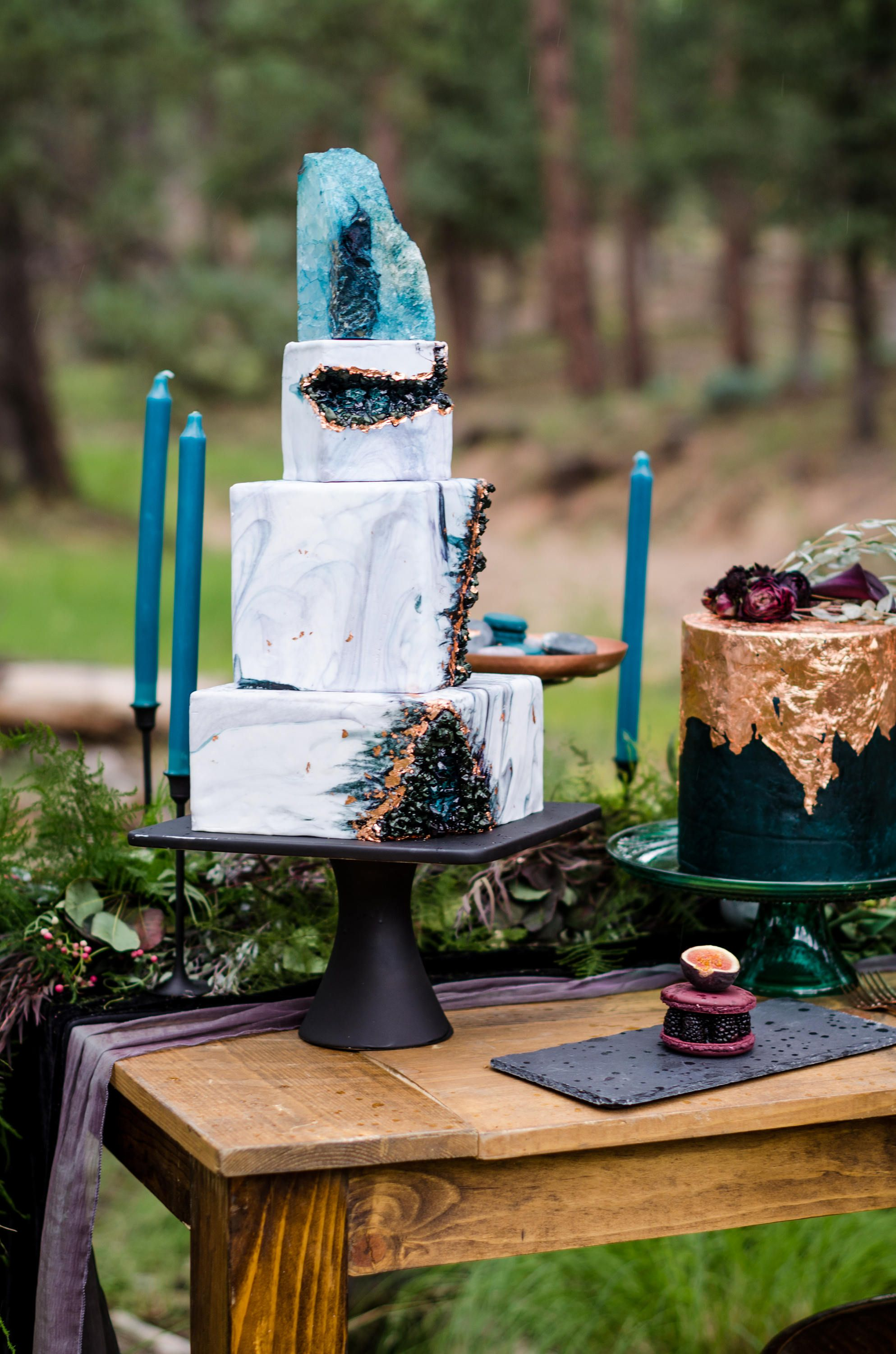 A Velvet Tablecloth Pairs Perfectly With This Geode Wedding Cake
