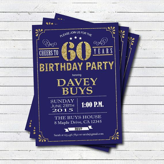 60th birthday invitation navy blue and gold cheers to 60 years navy blue and gold cheers to 60 years glam birthday invitation for man any age digital invite stopboris Choice Image