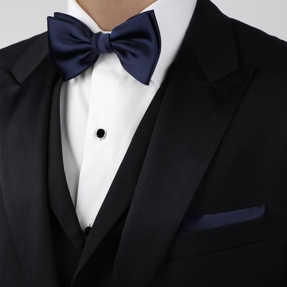 d37b234991d7 Dark Navy Bow Tie | Solid Color Bow Tie in Navy Blue | Satin Finish Navy  Bow Tie in Pre-tied style (