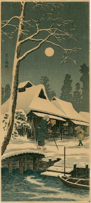 Hazy Moon on a Snowy Night by Takahashi Shotei, 1936. Sold for $360