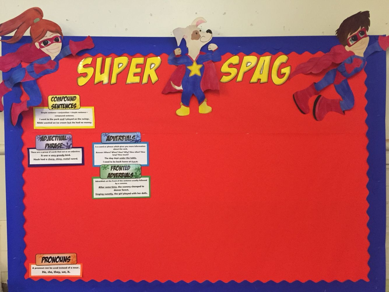 Classroom Ideas Ks1 ~ My super spag display board introducing new characters