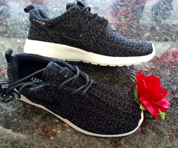 Custom Nike Roshe run Yeezy Pirate Black by Soleattitudes on Etsy