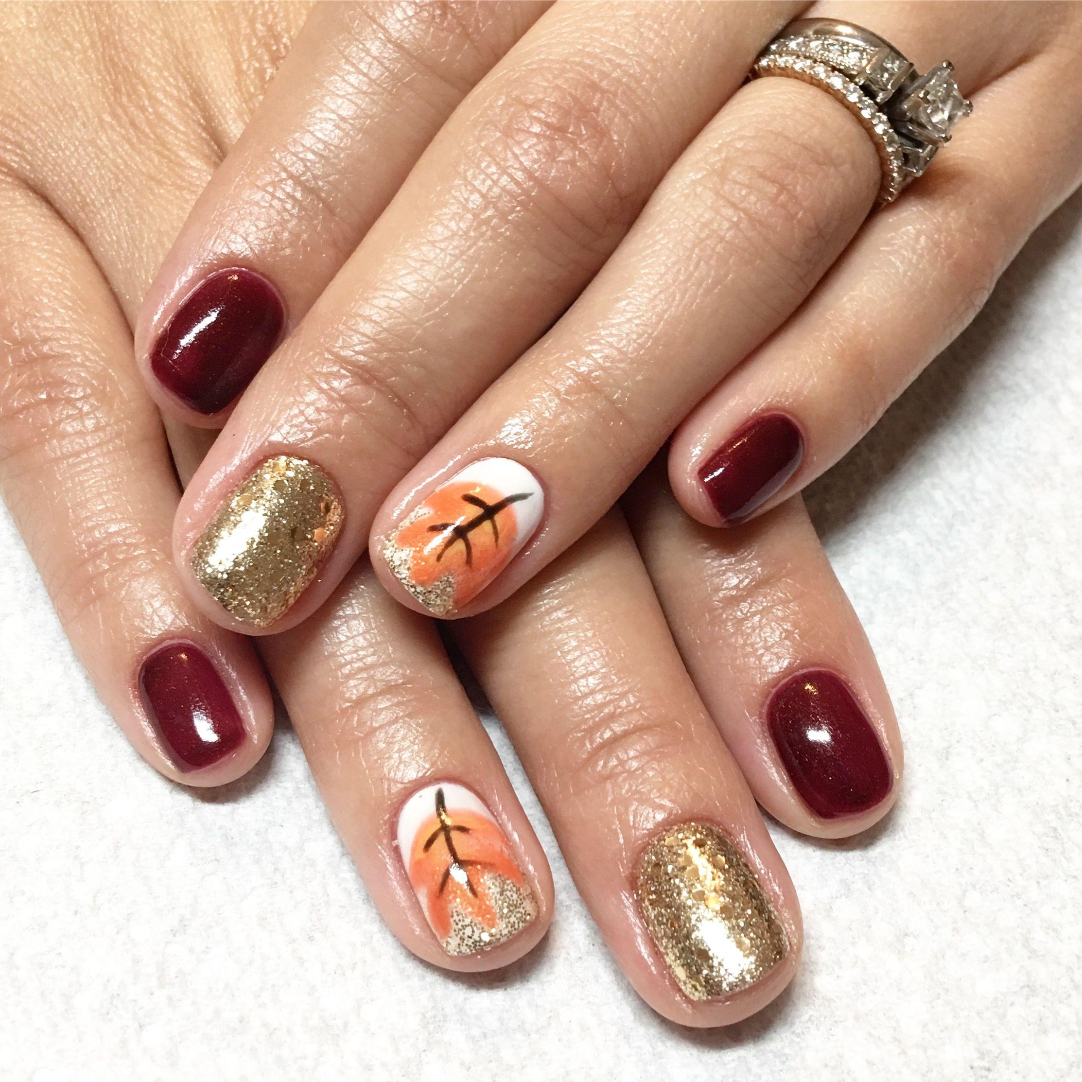 Fall nails. Fall nail art. Leaves nail art | Nails I\'ve done | Pinterest