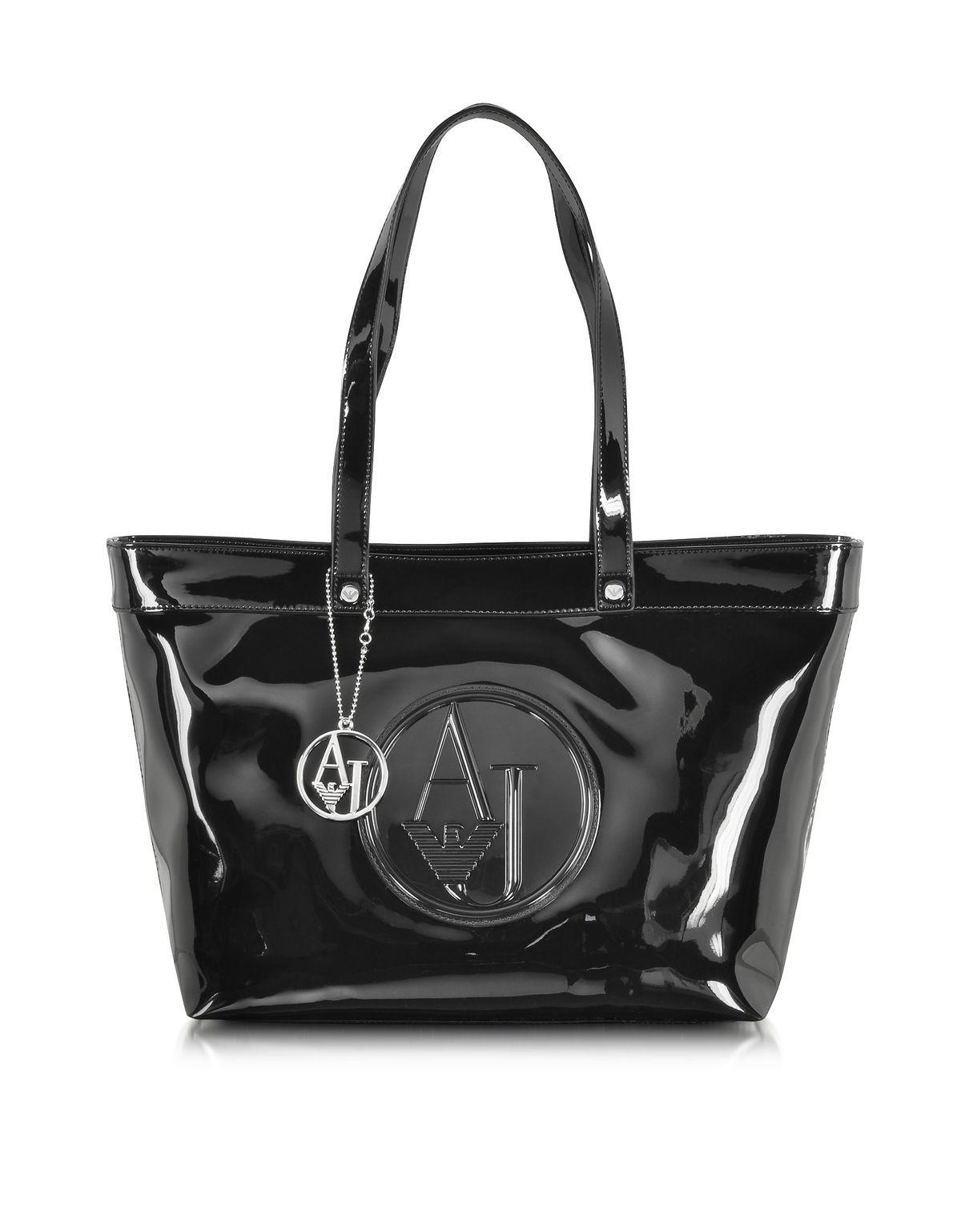 edc791ba6d6 Armani Jeans Armani Jeans Black Eco Patent Leather Large Tote Bag ...