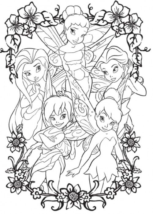 Tinker Bell And Four Friends Coloring Page Paginas Para Colorear De Hadas Paginas Para Colorear Disney Amigas De Tinkerbell