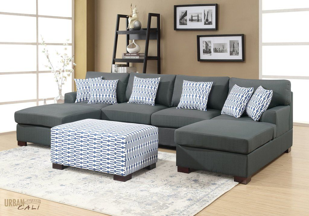 Hayward Small U Shaped Sectional Sofa In Slate Black Polyfiber