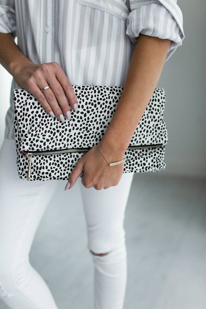 Foldover Snow Leopard Clutch by Ampersand Ave