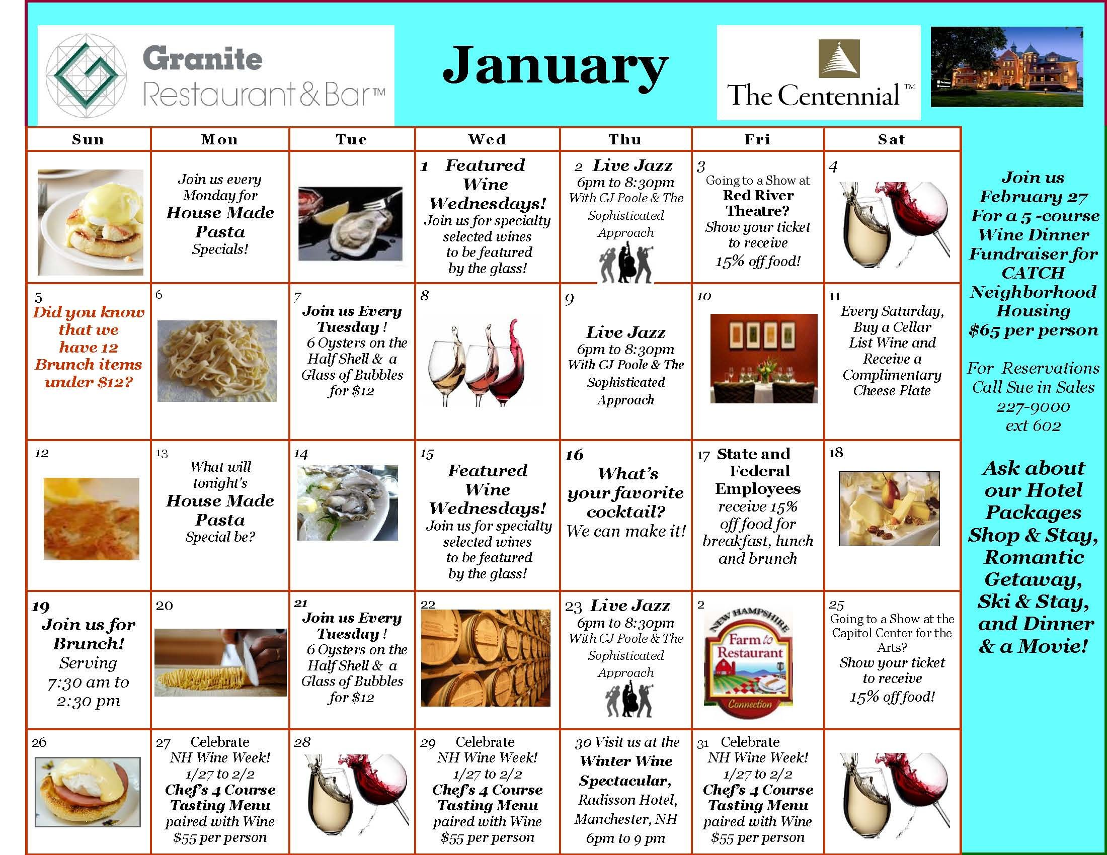 January  Event Calendar Granite Restaurant Concord Nh