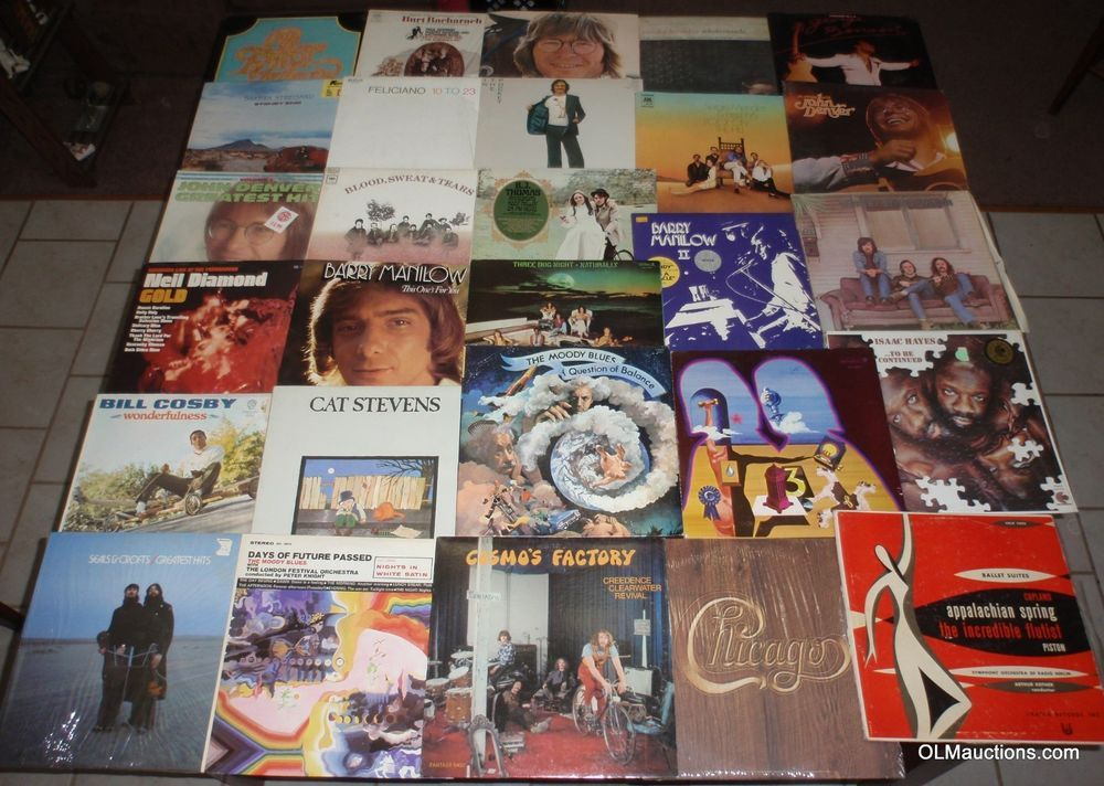 Lot Of 28 Classic Rock Lps Vinyl Albums Ccr Chicago Moody Blues