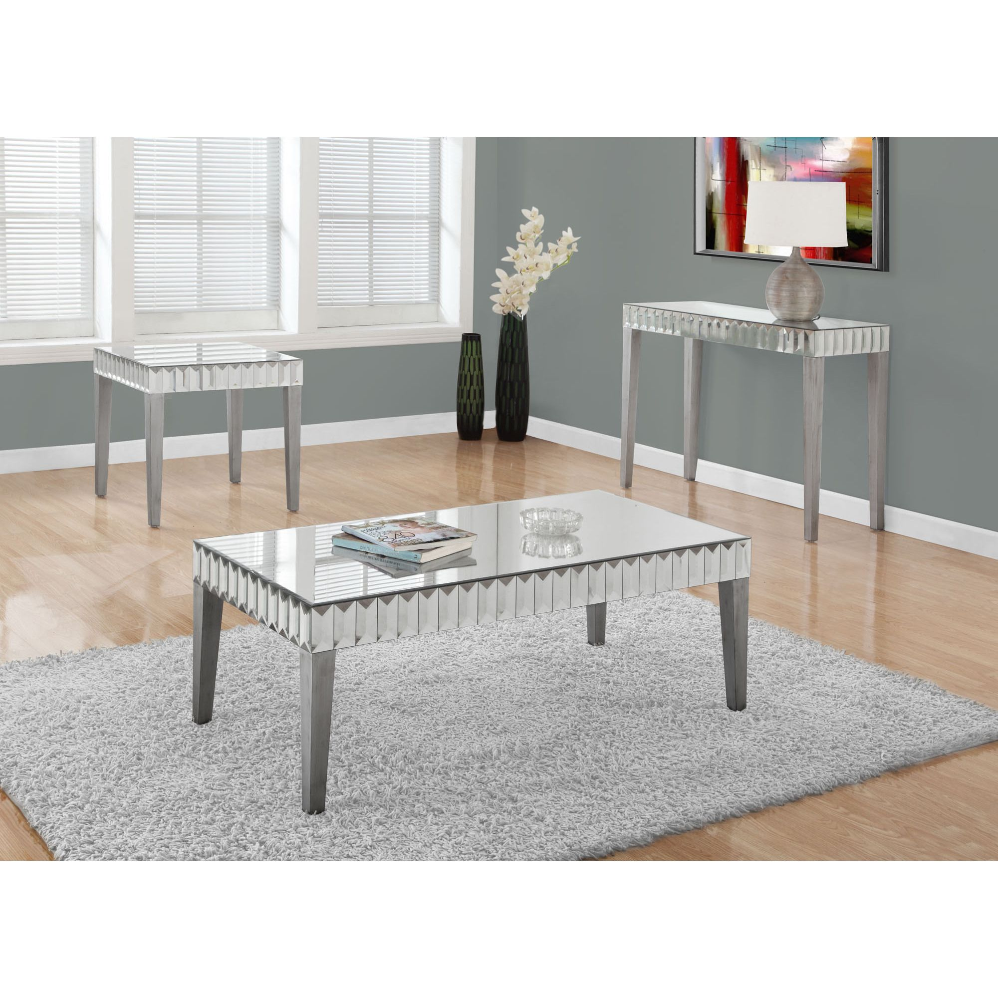 Monarch Coffee Table 48X 24 Brushed Silver Mirror Brushed