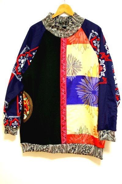 43ab6c1f226b3 メンズ和柄着物リメイクトレーナー・カラフル菊-手作り和柄服神の