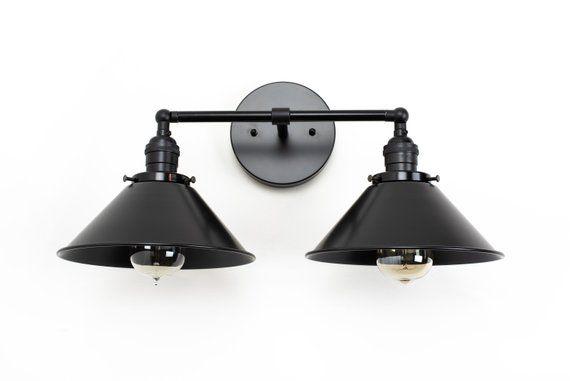 Black Vanity Light Industrial Bathroom Black Bathroom Etsy In 2020 Black Bathroom Light Black Vanity Light Farmhouse Light Fixtures