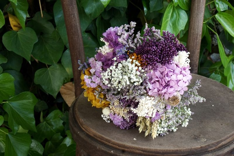 Ramo novia flores preservadas secas hortensias - Arreglos florales con flores secas ...