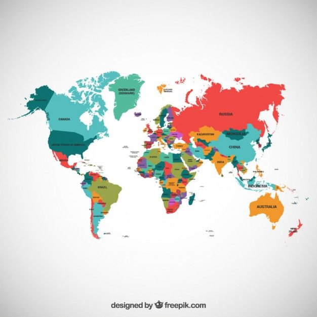 top free vector art simple flat clear world map by Freepik