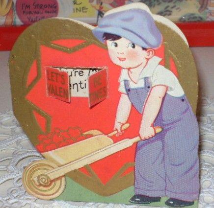 3 Vintage Valentine's Day Cards Children with Newsies Hats Fun!