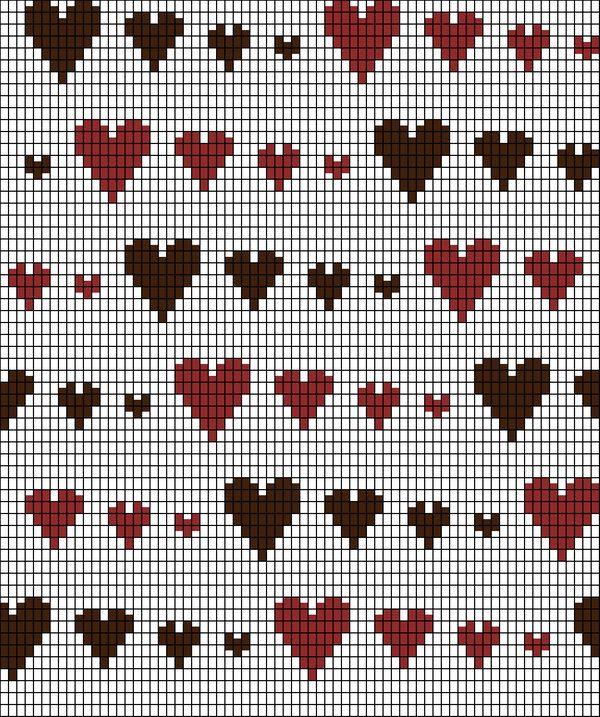 Knitting Chart: Runaway Hearts by ~redhedinsanity on deviantART ...
