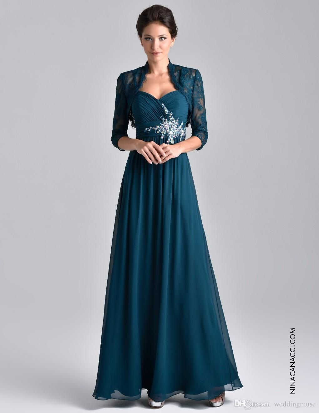 e0f7c1548d5 Wholesale 2015 Plus Size Two Piece Teal Blue Chiffon Mother Of The Bride  Dress With 3 4 Long Sleeve Lace Jacket Crystal Mother Evening Gowns  DL1314610